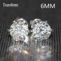 Transgems 14 K 585 Белое золото 1.6CTW 6 мм лаборатория искусственный Муассанит серьги гвоздики с бриллиантами для женщин Srew назад серьги