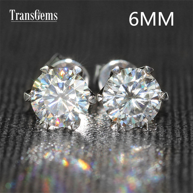 Transgems 14K 585 White Gold 1.6CTW 6mm lab Created Moissanite Diamond Stud Earrings For Women Srew Back EarringsTransgems 14K 585 White Gold 1.6CTW 6mm lab Created Moissanite Diamond Stud Earrings For Women Srew Back Earrings