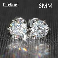 Transgems 14K 585 White Gold 1.6ctw 6mm lab Created Moissanite Diamond Stud Earrings For Women push Back Earrings