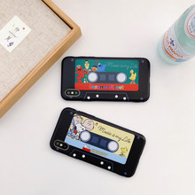 Retro Music cassette Sesame Street Case for iPhone X Xs Max Xr 6 6s 7 8 Plus Nostalgic magnetic tape Soft Silicon Cover(China)