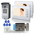"FREE SHIPPING Home 7"" Color Screen Video DoorPhone Intercom System + RFID Access Camera + 2 White Monitors + Electric Door Lock"