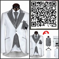 Italy brand men 5pcs swallow-tailed wedding suit high-end tuxedos wedding suits black/white/silver/mens prom suits/novios boda