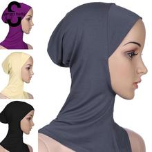 Senza Fretta Muslim Cotton Hijab Cap Islamic Head Wear Hat Women Head Scarf Cotton Under Scarf Hijab Cover Head Wrap L10534