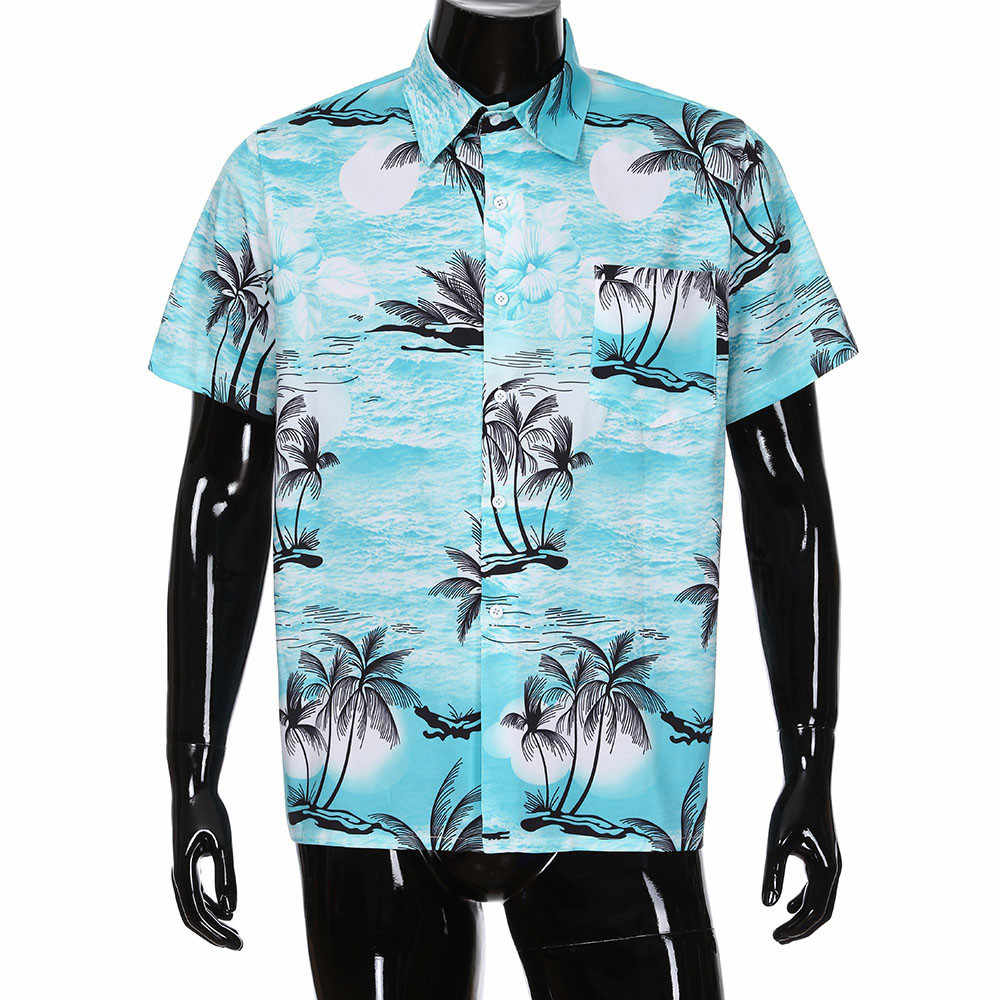 7391285d95a 2018 shirt Men Summer Hawaiian Beach Brand Floral Print Button Short Sleeve  Shirt Blouse Top Size