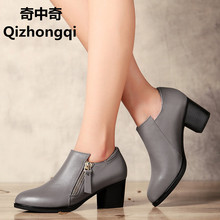 Genuine leather woman shoes 2017 autumn new deep mouth singles shoes  cowhide thick with large size 35-43 of dress shoes