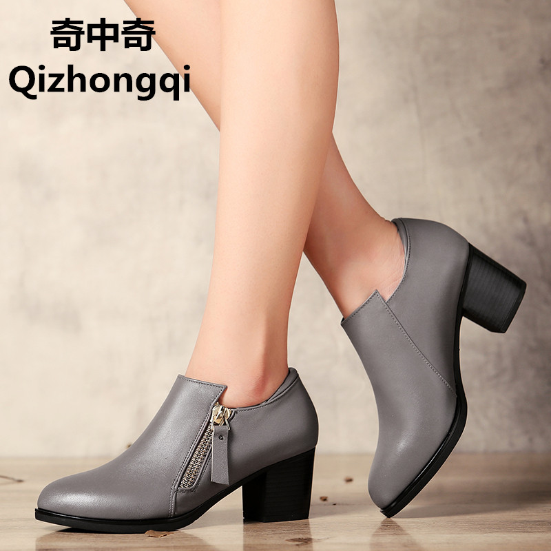 Genuine leather woman shoes 2017 autumn new deep mouth singles shoes cowhide thick with large size