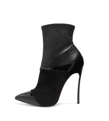 Women Solid Black Sexy Pointed Toe Patchwork Ankle Boots Autumn Spring High Thin Metal Heel Slip On Sock Boots 10cm HeelWomen Solid Black Sexy Pointed Toe Patchwork Ankle Boots Autumn Spring High Thin Metal Heel Slip On Sock Boots 10cm Heel