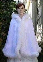 Women White/Ivory Faux Fur Trim Winter Christmas Bridal Cape Stunning Wedding Cloaks Party Wraps Jacket