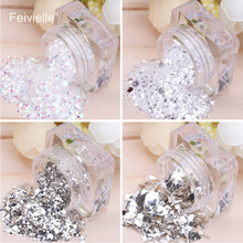 Feivielle 4 Pcs Different Types Silver Shinning 3D Nail Glitter Sequin Slice Mixed Powder Art Tips Decoration