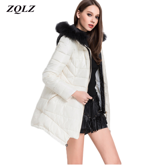 f047dab1689e Zqlz Winter Down Jacket Women Cotton Padded Female Coat Plus Size Slim Long  Paragraph Outerwear Fur Collar Hooded Parka Mujer