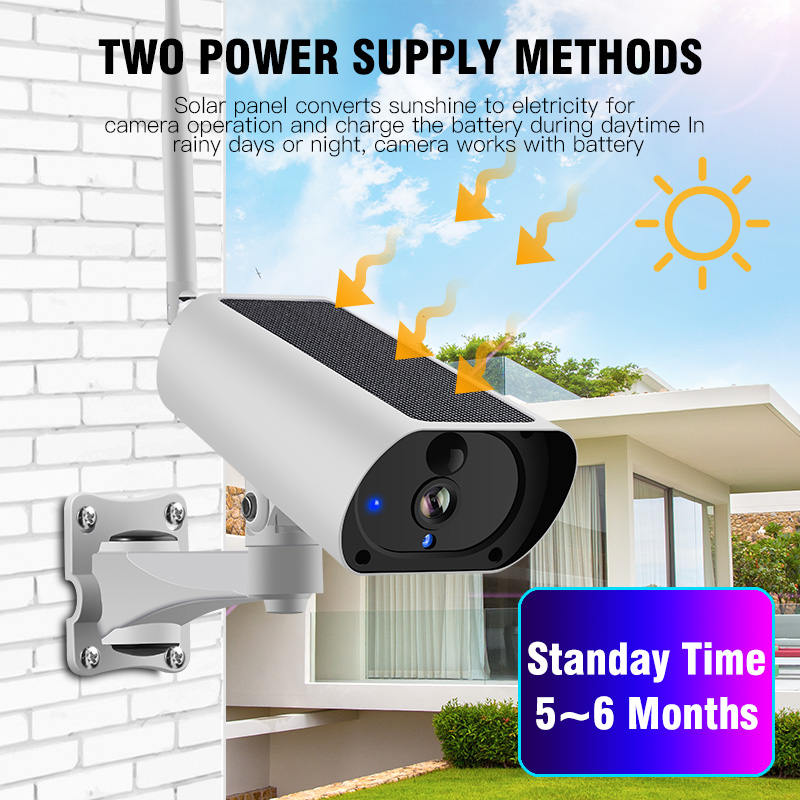 Solar Ao Ar Livre sem fio WiFi IP Câmera de Segurança HD 1080P Áudio Vigilância Home Security Camera Surveillance Camara À Prova D' Água