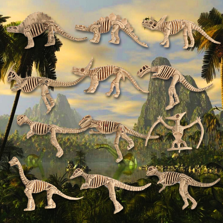12pcs Kids Dinosaur Fossil Skeleton Skull Bone Simulation Model Set Toys Mini Action Figure Jurassic Educational Creative Toys