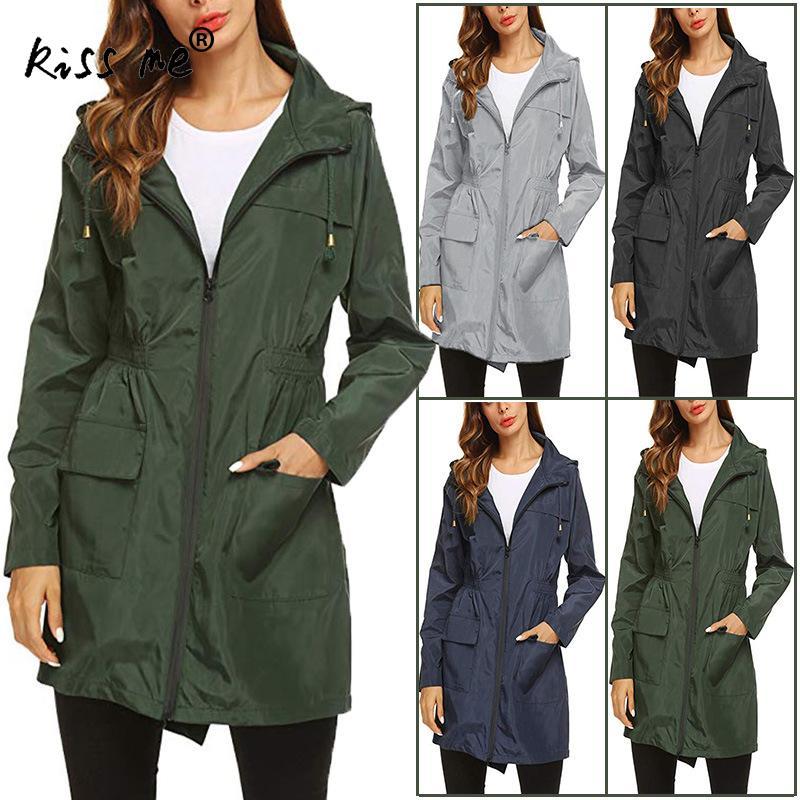 Waist Controlled Hiking Jacket Mid Long Quick Dry Windproof Camping Coat Waterproof Women Trench Coat Outdoor Sport Coat