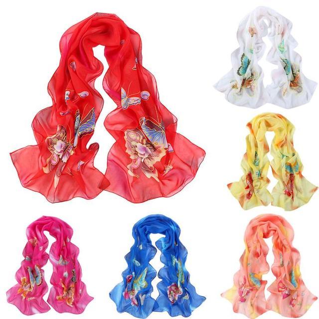 235ac498dbd41 Femmes Papillon Écharpe En Mousseline de Soie fille foulard Papillon Motif  Longue Étole Echarpes lenco feminino