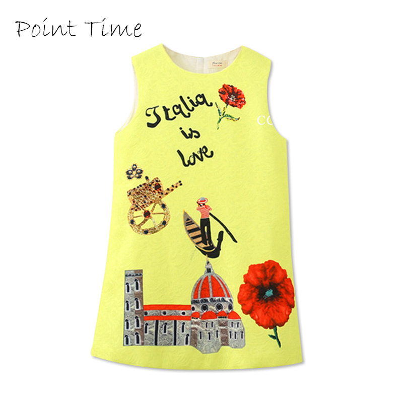 2018 Printed A Line Children Dress Girl Costume Cotton Baby Girls Princess Dresses Children Clothing Kids Clothes D004 2018 new cotton printed rose dresses