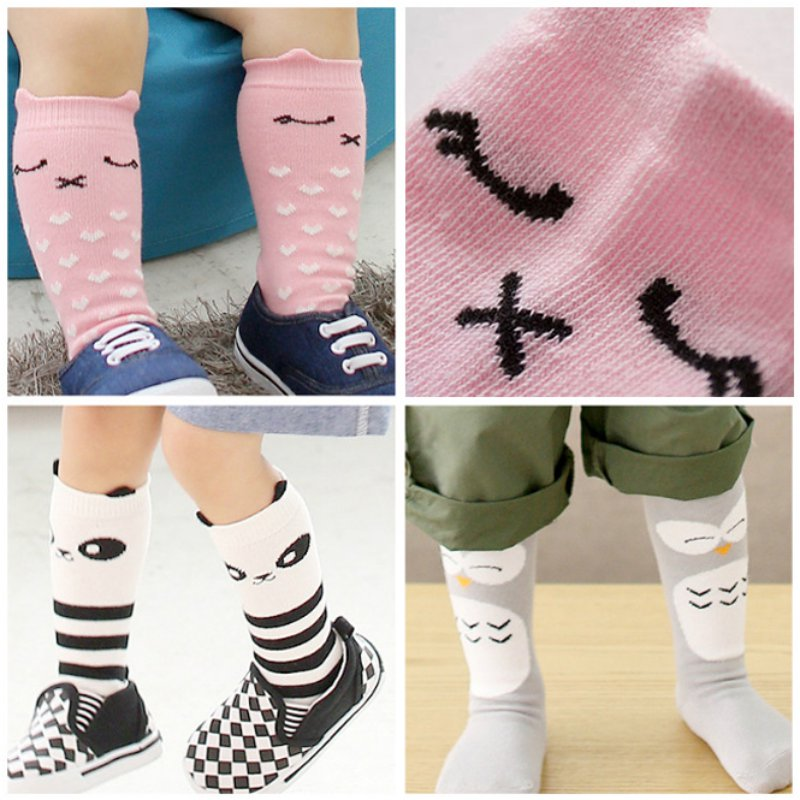 Hot Sales Girl Boy Kids Baby Socks Animal Pattern Cotton Anti-slip Knee High Socks 0-4Y
