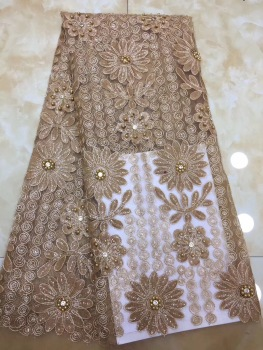 Gray  Nigerian Lace Fabrics Embroidered African French Lace Fabrics High Quality Beaded Tulle Laces For Wedding D150