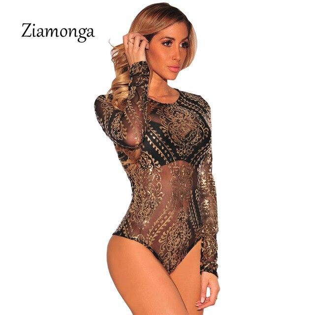 Ziamonga Women Jumpsuits Long Sleeve Sequined Bodysuits Gold Sequin Leotard  Bodysuits Embroidery Rompers Women Jumpsuit C2916-in Bodysuits from Women s  ... 08c6eacf6