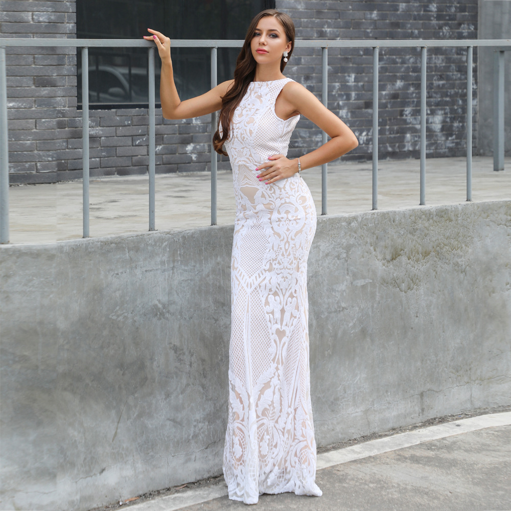 Dos O Mode Soirée Celebrity En Corps Partie Gros Paillettes Style Sexywomen Hight Nu Qualité Robes De Robe cou Nouveau Longue Du Con 8Bttw5
