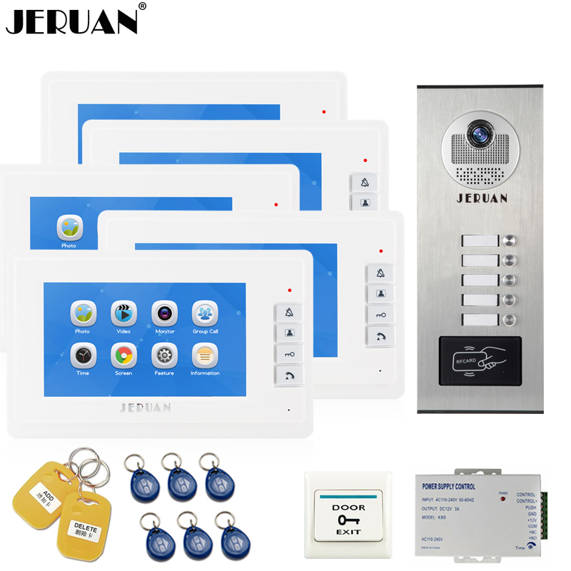 JERUAN 7`` LCD Video Door Phone Record Intercom system RFID Access Entry Security Kit For 5 Apartment Camera to 5 Household jeruan 7 inch video door phone record intercom system rfid access entry security kit for 4 apartment camera to 4 household