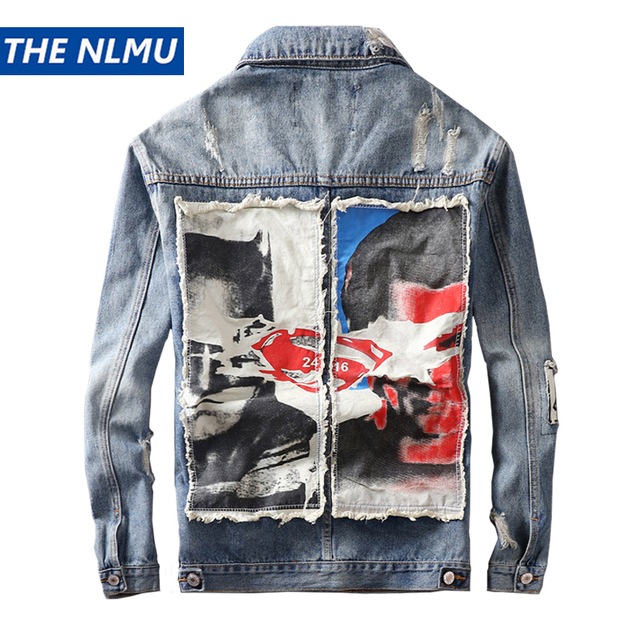 Denim Jacket Men Hole Distressed Jeans Coat Hip Hop Patch Jacket Streetwear Outerwear 2019 Spring Autumn Tops for Male HW111 Timelord Clothing UK
