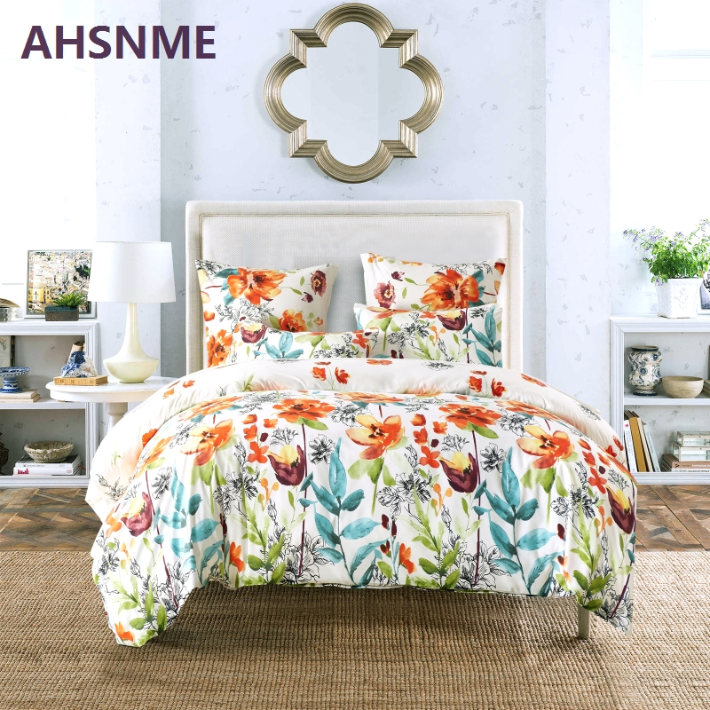AHSNME Watercolor Floral Pattern Bedding set comfortable Fabric Quilt Cover bedding European standard and American standard size