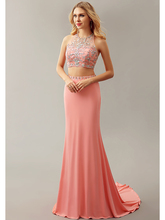 2016 New Coral Sexy Two 2 Pieces Mermaid Beaded Crystals Jersey Open Back College Girls Formal Evening Dresses Gowns Night Wear