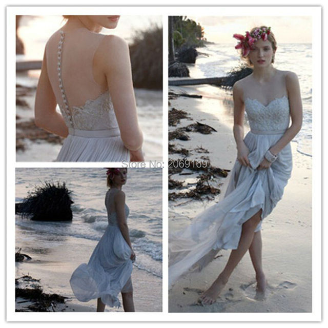 elegant long boho wedding dresses 2017 sweetheart appliques lace light blue  chiffon beach Bridal Gown for wedding party b5d4d4e6a2f3