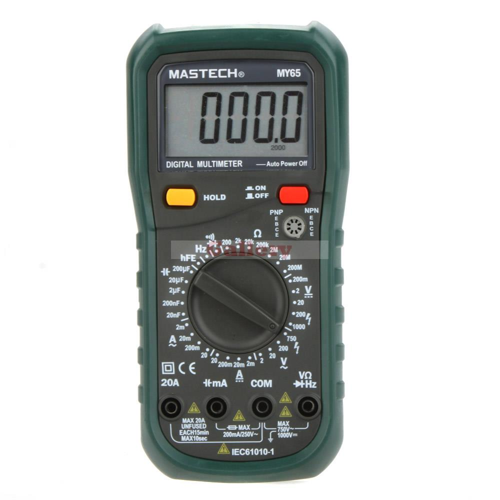 MASTECH MY65 Digital Multimeter DMM AC/DC Voltmeter Ammeter Ohmmeter w/Capacitance Frequency & hFE Tester Professional Meter f47n multimeter pointer mechanical capacitance meter ammeter voltmeter pocket
