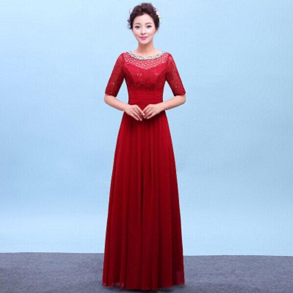 ba02ea5a18 Azul vino de color negro y rojo largo con cuentas vestido de dama de honor  vestidos de damas de honor hasta el suelo liso de manga larga dres S3760 en  ...