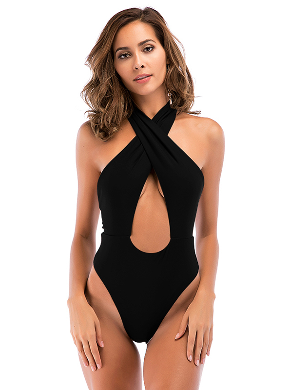 High Cut, Cross Halter, One Piece Monokini Swimsuit 15