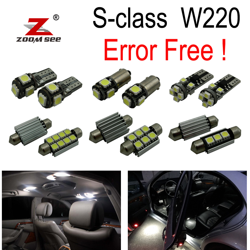 22pc X Error free LED Bulb Interior Light Kit For Mercedes For Mercedes-Benz S class W220 S320 S420 S500 S600 (1999-2005) 27pcs led interior dome lamp full kit parking city bulb for mercedes benz cls w219 c219 cls280 cls300 cls350 cls550 cls55amg