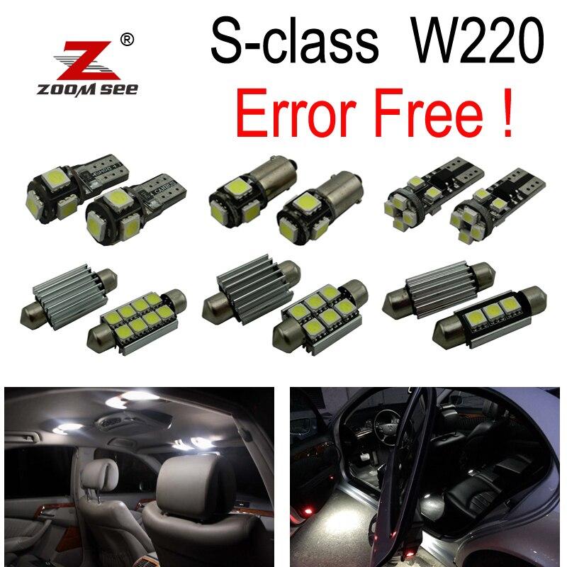 22pc X Error free LED Bulb Interior Light Kit For Mercedes For Mercedes-Benz S class W220 S320 S420 S500 S600 (1999-2005) for mercedes benz e class 2002 present s class 2006 present canbus error free t15 w16w car led lights backup reverse tail bulb