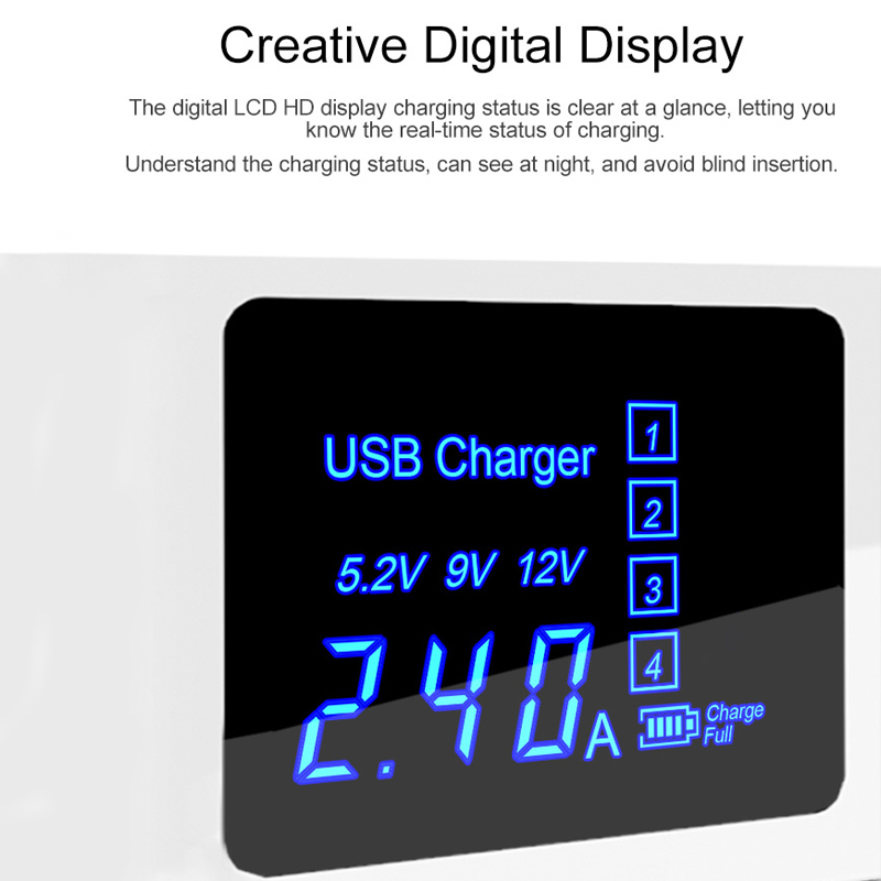 Universal 4-Port LCD Display USB Charge Station 3