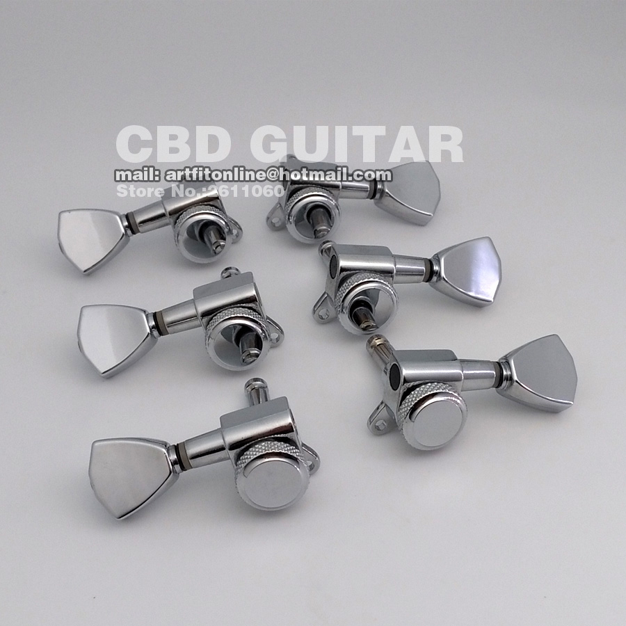 US $45 0 |New Keystone M6 Schaller Type Chrome Finish Metal Button Guitar  Locking Machine Head Tuning Peg Tuners for lespaul Guitar-in Guitar Parts &