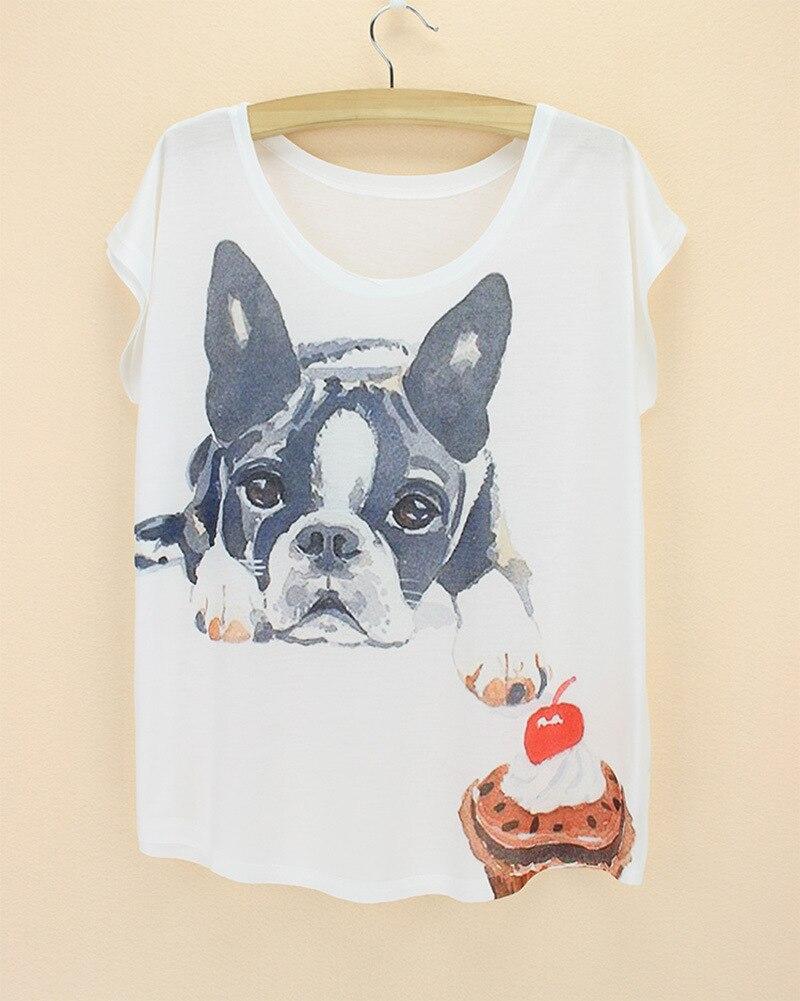 french bulldog dog print short sleeve T shirt blusas o neck summer cool fashion 2018 tunika adventure time japan women clothes