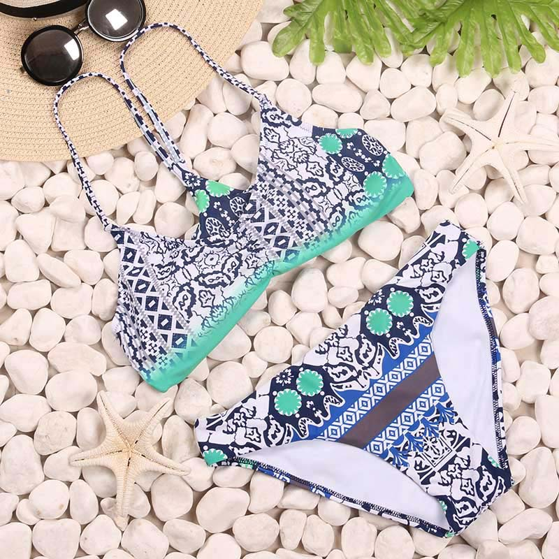 TQSKK 2018 New  Swimwear Women Bikini Swimsuit Brazilian Bandage Halter Top Bathing Suits Retro Vintage Print Beachwear Biquini 4