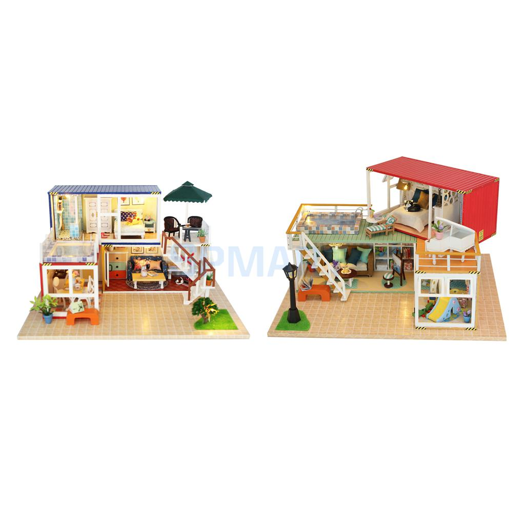 2 Sets DIY Japanese Style Miniature Dollhouse Room Decor Kits with Furniture & LED Light Set - Kids Toy Birthday Gift