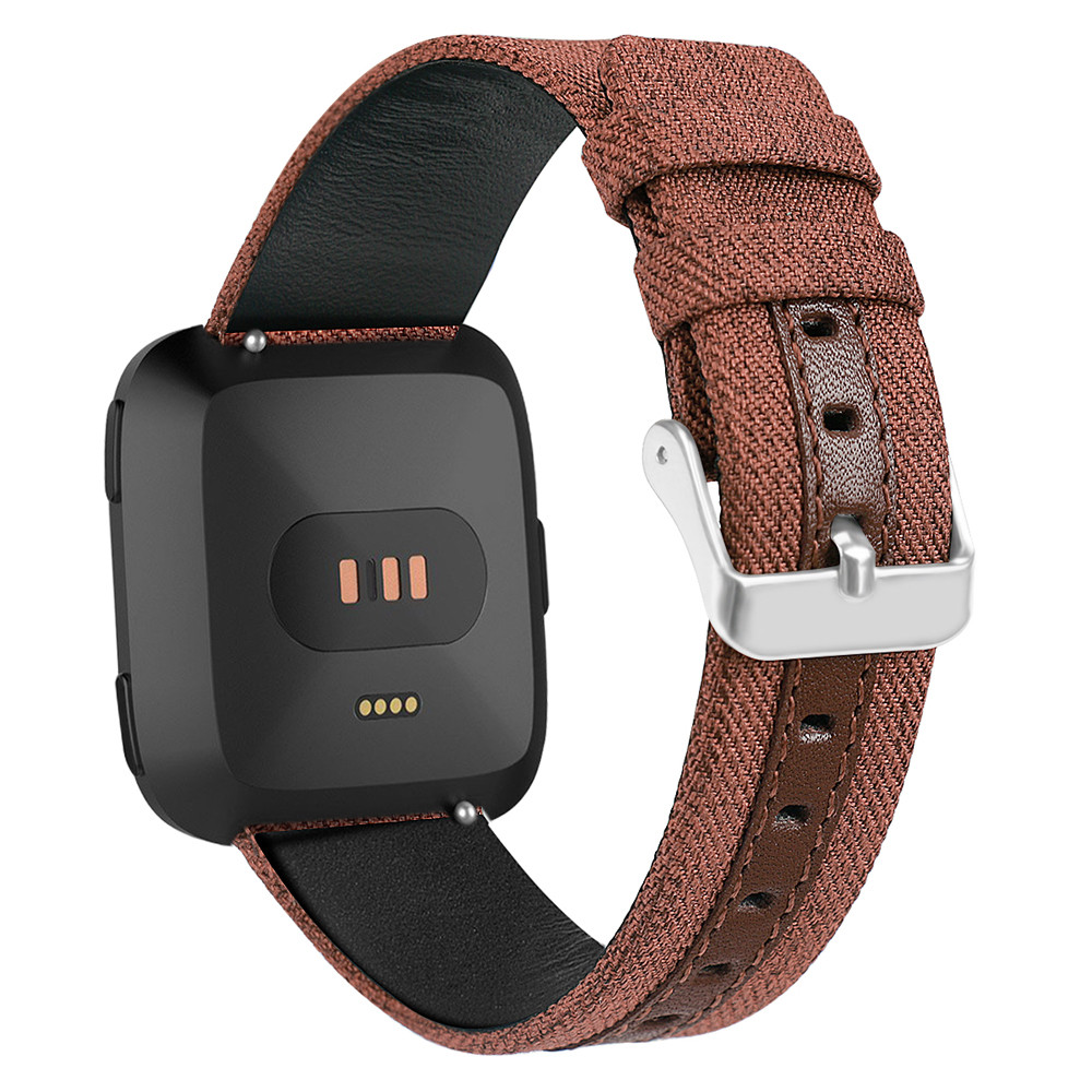 Wrist Strap For Fitbit Versa Luxury Canvas Leather Watch Band Wrist Strap For Fitbit Versa Jn.19