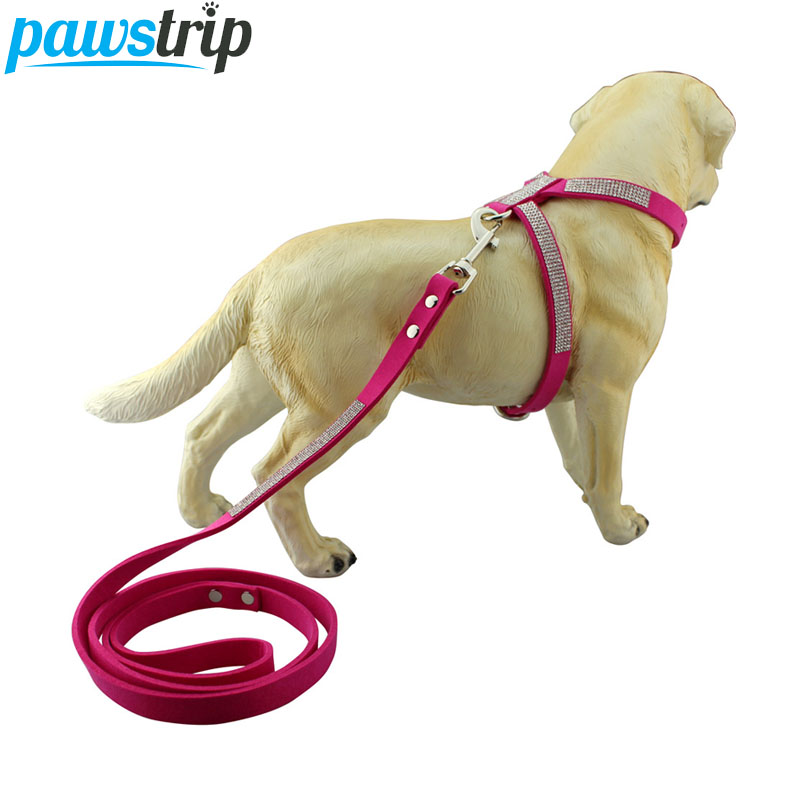 Zachte Suede Stof Hond Harnas Leash Bling Strass Hondenriem Voor Chihuahua Kleine Puppy Lopen Lead XS-L