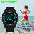 Sanda Mens Watches Top Brand Luxury Pedometer Chronograph LED Sport Digital Watch Men Waterproof Wristwatches Relogio Masculino