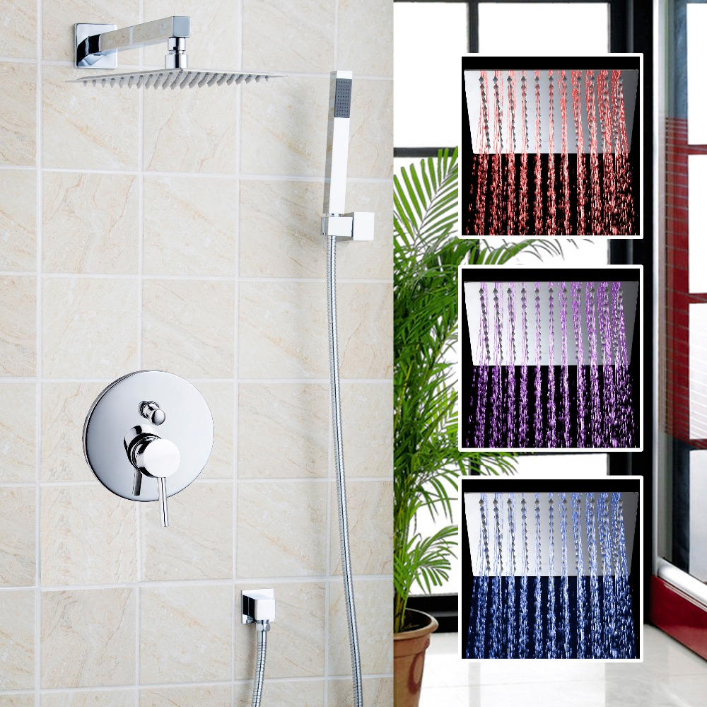 LED Wall Mount Bathroom Bath LED Shower Head Arm W/Hand Spray + Square Valve Shower Set Faucets 3 color changing bath rainfall shower 16 round top sprayer w arm wall mount