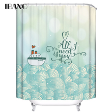 IBANO Shower Curtain Boat Pattern Customized Bath Curtain Waterproof Polyester Fabric Curtain For The Bathroom With 12pcs Hooks animal pattern shower curtain with 12pcs hook