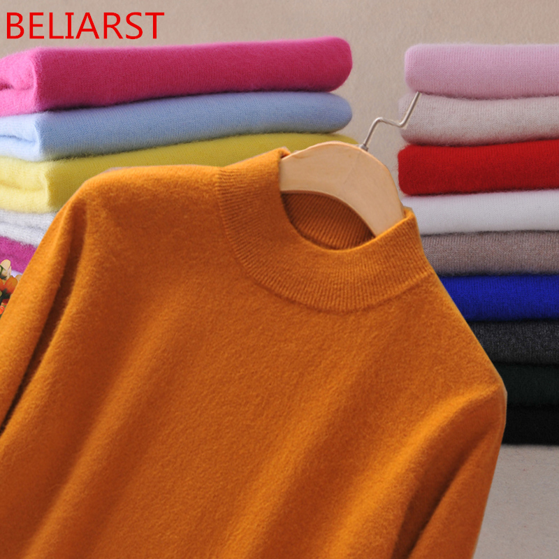 BELIARST New Brand Women Sweater Wool Sweater Large Size Thin Pink Pullover Femme 2XL Main Cashmere Knitted Sweater Women