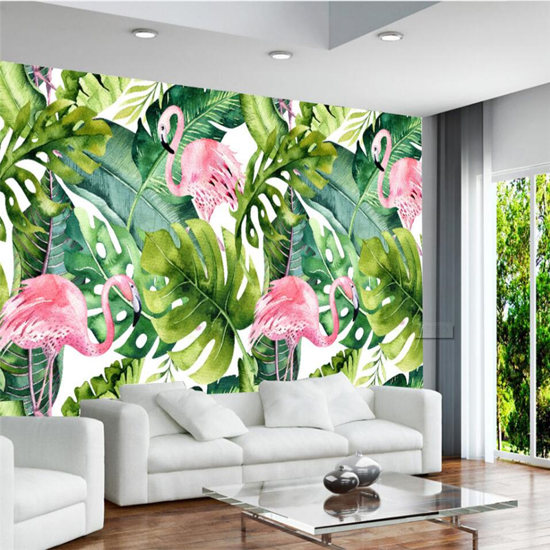 Beibehang Nordic Small Fresh Flamingo Tortoise Leaf Background Wall Murals Custom Large Mural Green Wallpaper Papel De Parede