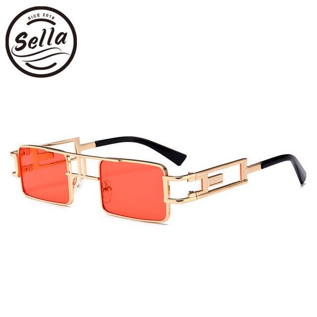 a0b4f39b06 Sella 2018 New Fashion Steampunk Small Square Sunglasses Classic Retro  Alloy Frame Candy Color Tint Lens