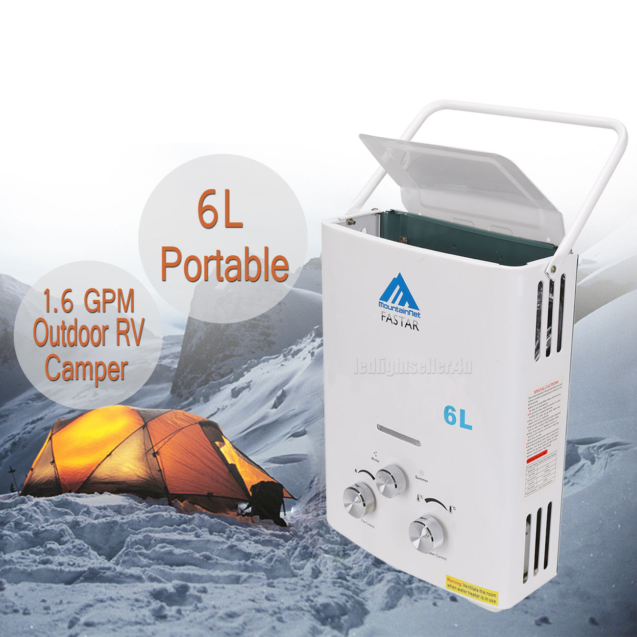 HOTSALES Tankless Hot Water Heater Propane Gas LPG 1.6 GPM Outdoor RV Camper 6L Portable