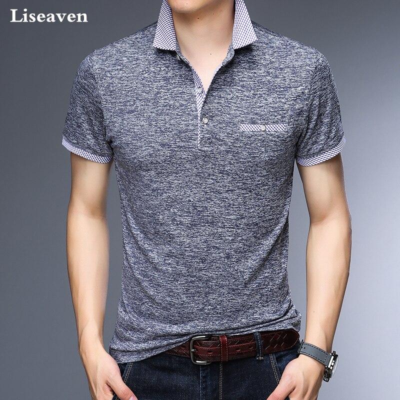 94154ae9c Homens Polos Liseaven Escritório de Negócios Camisa Marca Polo Mens Camisas  Pólo Roupas Masculinas Sólida Casuais Poloshirt Algodão Respirável