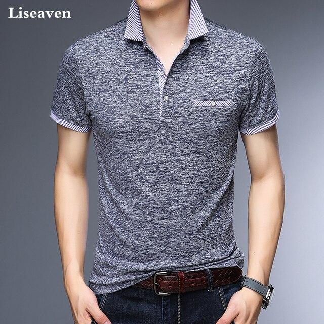 Liseaven Polos גברים משרד עסק מותג חולצת פולו גברים חולצות פולו Mens הלבשה מוצקה מקרית הכותנה Poloshirt לנשימה
