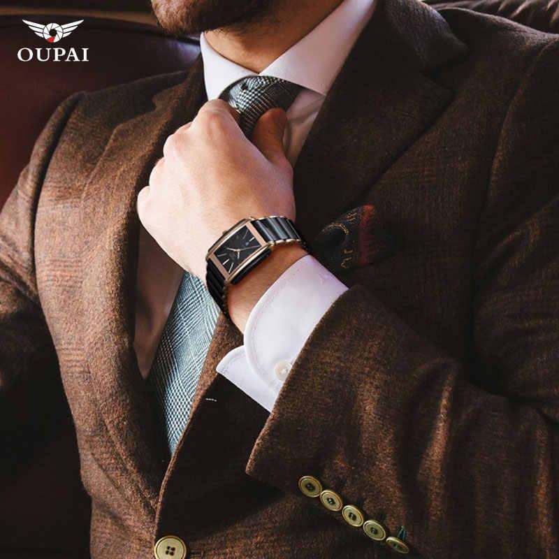 Mewah Keramik persegi jam tangan untuk beberapa mens jam hitam pria quartz jam tangan pria tahan air relojes